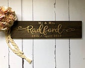 Personalised Mr Mrs sin in Ebony and gold Save the date sign Wedding gift idea Rustic wedding sign Wood wedding sign