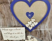 Personalised 40th 30th birthday small heart hen do purple drop box wooden hearts rustic vintage wedding guestbook alternative wooden dropbox