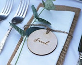 Wooden Circular Shaped Place Names Wooden Place Names Circular Place Setting Rustic Wedding Place Names Wooden Wedding Place Setting