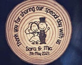 Wedding Favours Personalised Wood Engraved Magnets with Couples Names and Wedding Date, Rustic, Vintage, Woodland Wedding