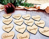 Personalised Wedding Place Names, Wooden Heart Place Setting, Wood Place Name, Wedding Favors, Wedding Table Decor, Rustic Wedding Seating