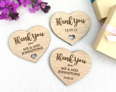Wedding Favour Thank You Gift Wooden Magnet Personalised, Engraved Marriage, Guests, Engagement, LGBT Wedding, Rustic, Gift Box