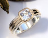White topaz gold and silver ring bezel setting hatch textured band