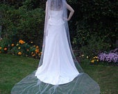 Wedding veil plain. Cathedral 108 length. Cut or Pencil edge. 3 widths to choose from. Ivory, White or Light Ivory.