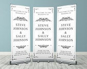 Black and White Traditional Custom Wedding Roller Banner, Customised Wedding Roll Up Banner, Personalised Wedding Welcome Sign