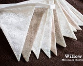 Bunting hessian, burlap, lace.Summer Wedding, Party, Celebration. Bridal Classic and stylish double sided hanging banner. Marque decoration