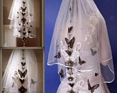 Wedding Veil With Black Butterfly Design in WhiteBridal Veil,White Veil,Layered Veil,Wedding Veil with combWhite Butterfly Wedding veil.