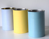Upcycled Rustic Aqua Painted Tin Can Wedding Vases