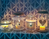 12 rustic shabby chic upcycled jars