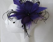 Black and Deep Purple Feather Flower Gothic Hair Comb with Crystals and Tulle Vintage Wedding Bridal Fascinator Ready Made