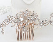 Rose gold hair comb, Wedding hair accessories, Bridal hairpiece, Crystal headpiece, Hair jewelry, Bridesmaids comb, Zirconia crystal
