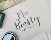 Personalised Mrs Est Clutch Bag Bride Purse Unique Gift For The Bride Bridal Shower Gift Future Mrs Clutch Bag Bride Bag