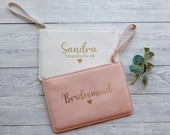 Personalised Bride Clutch Bag, Bridesmaid Pouch, Bridal Purse, Make Up Bag, Hen Party Bag, Bridesmaid Proposal Gift, Wedding Clutch Bag
