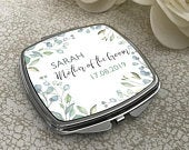 Personalised MOTHER of the GROOM compact mirror wedding gift, floral handbag mirror CARMF2