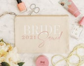 Bride Squad Makeup Bag, Personalised Bridesmaid Gift, Custom Hen Party Gift, Bride Squad Purse, White, Rose Gold Foil (Tamsin)