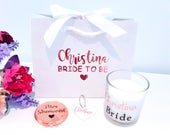 Bride to be gift, bride to be, hen party gift, wife to be gift, personalised candle, heart keyring, compact mirror, bride to be bag,gift set