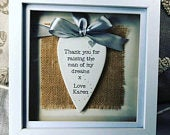 Personalised hand stamped hearts wedding shadow box frame rustic gift mother of the bride groom parents of the bride groom thank you