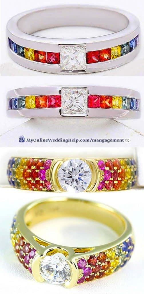 Rainbow Engagement Rings. LGBT unisex rings.