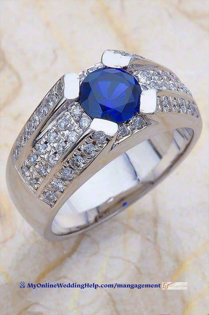 Man's Engagement Ring. or Diamonds and solitaire sapphire.