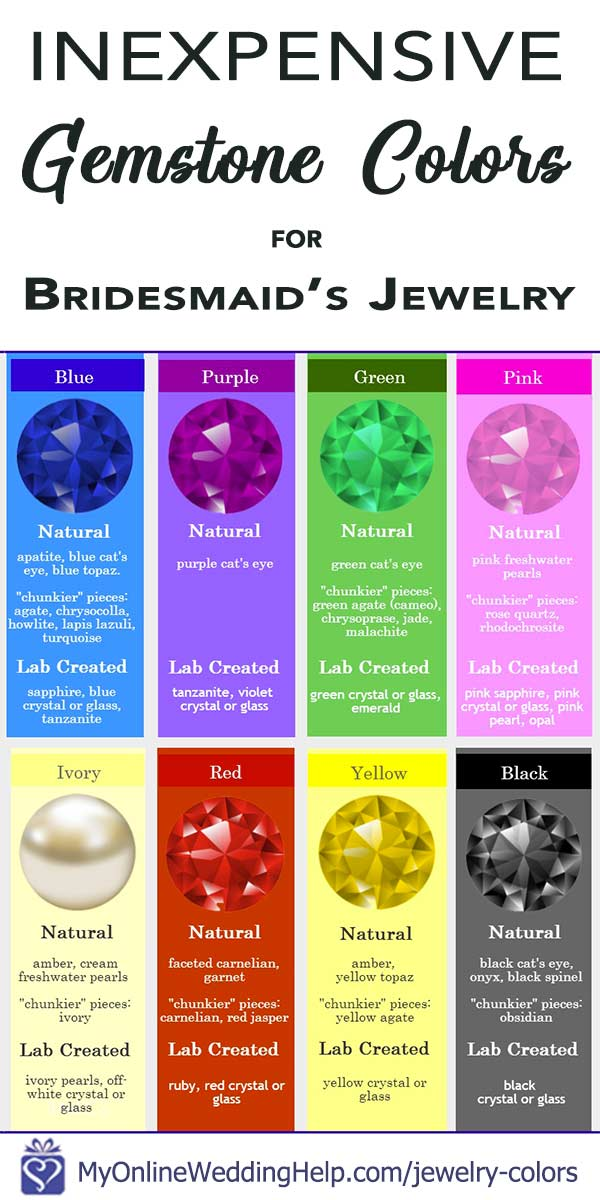 Inexpensive gemstones that match wedding color schemes. Choose these for bridesmaids jewelry to match your wedding colors. The purples are my favorite! Learn more on the My Online Wedding Help blog. #MyOnlineWeddingHelp #WeddingColors #BridesmaidsJewelry #InexpensiveGemstones