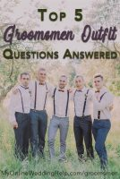 Groomsmen outfits for the wedding. Should they wear suits or some other non traditional attire? Can they rent a suit? Do they pay for their own or not? Does the best man's style differ from the groom's? How does it relate. What are some non traditional groomsmen attire ideas (rustic attire, suspenders, bow ties, socks, etc.)? #BudgetWeddingBlog #Groomsmen #GroomsmenAttire #MyOnlineWeddingHelp #GroomsmenOutfits #GroomsmenSuits #WeddingSuits