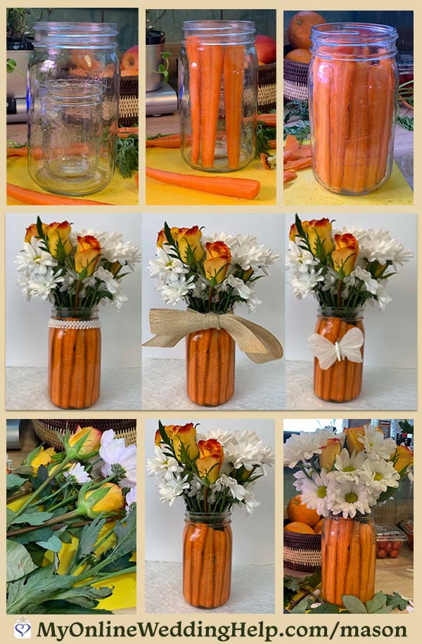 Easter or spring wedding centerpiece idea. Use mason jars and carrots for a simple and unique arrangement. Very colorful, too. See the DIY in the post. Look for it in the mason jar centerpieces with flowers section. On the My Online Wedding Help blog. #SpringWedding #EasterCenterpiece #FlowerCenterpieces