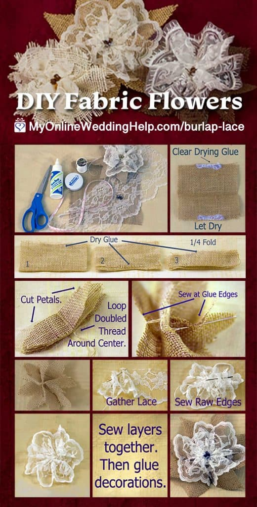 DIY Fabric Flowers with Burlap and Lace