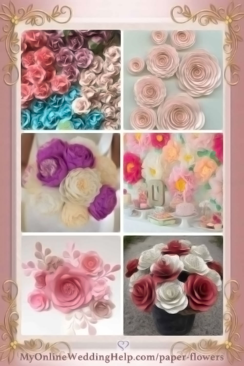 Paper flowers can add permanent (and affordable) beauty to decor. These are some examples of different types. Little roses, spiral style, paper peonies, huge tissue paper flowers, as an artistic backdrop, and book pages roses. There are links to buy each of these on the page (Scroll down to More Paper Flower Designs).