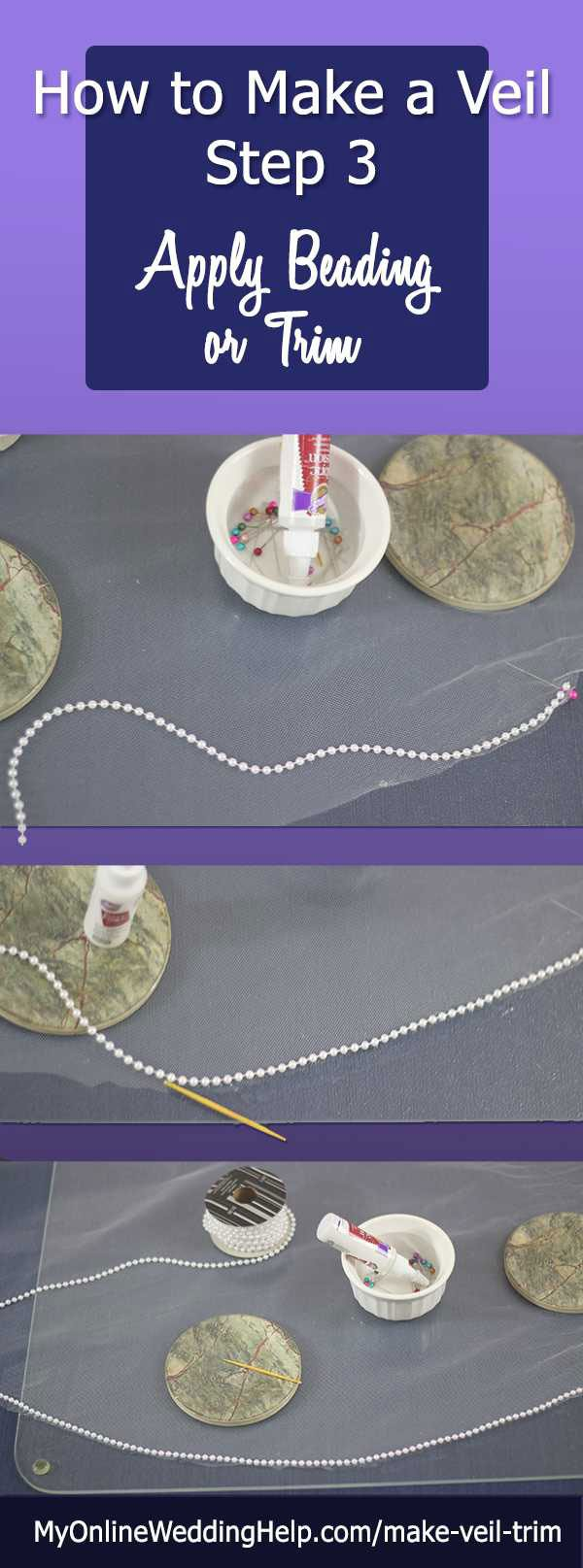 This is how to make a wedding veil step 3, how to DIY bridal veil edging or trim. Also, adding crystals or other decorations to the veil. #DIYVeil #VeilEdging #VeilLace