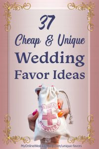 37 Cheap and Unique Wedding Favor ideas. Blog post title image.
