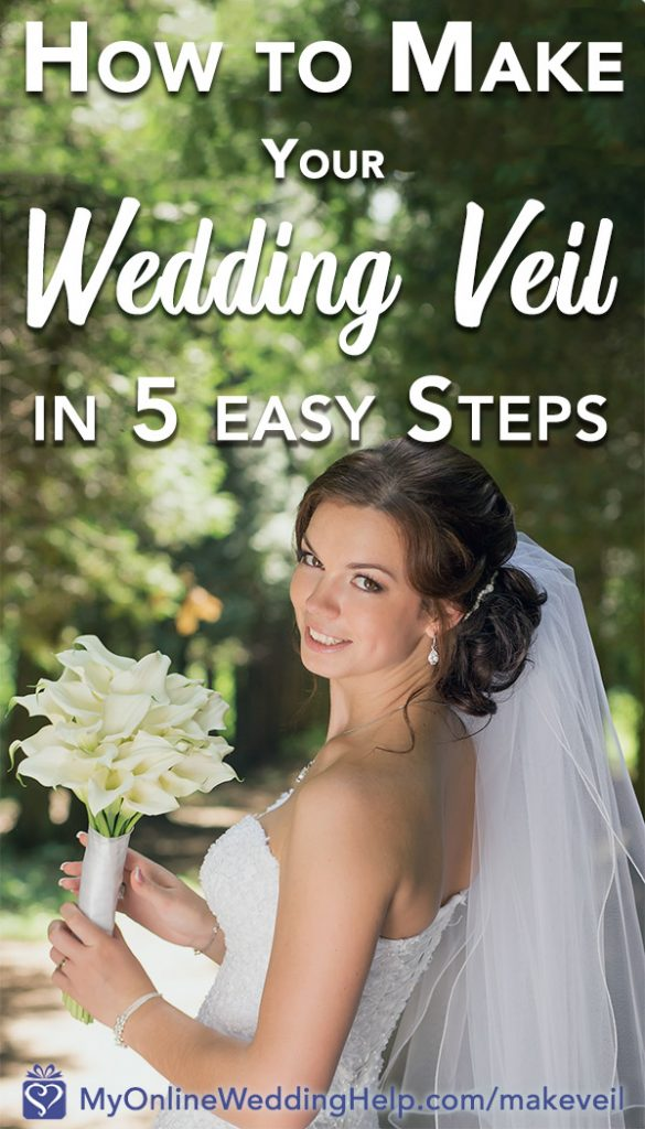 How to make a wedding veil in 5 easy steps. Bride looking over shoulder in wedding gown and veil. Holding a bouquet.