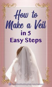 Videos and step-by-step instructions on how to make your own wedding veil. Step 1: measure and cut tulle or other veil fabric. Step 2: Make the blusher (optional) Step 3: Glue crystals, trim, or other decoration. Step 4: Create gathers at the crown / comb. Step 5: Sew on a veil comb. See how on the My Online Wedding Help blog. #DIYWedding