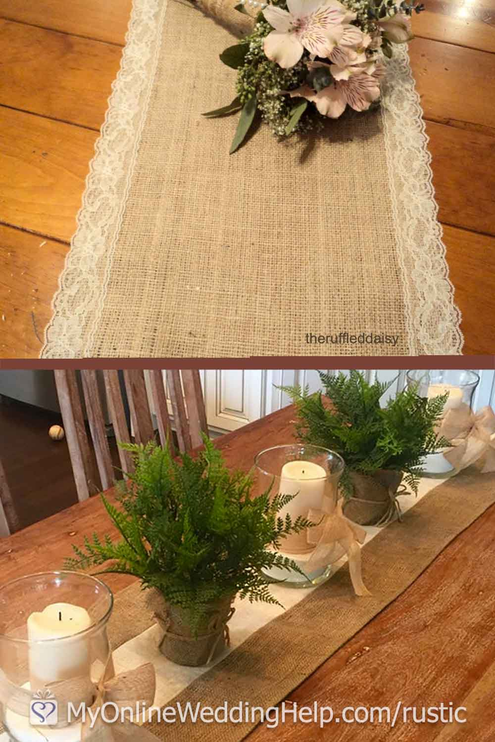 Unique rustic table runners for wedding or event decor. I love how Amber adds ruffles or lace to hers. Scroll to number 15 of the 25 rustic elegant wedding ideas for more info or to purchase. On the My Online Wedding Help blog.