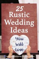 I LOVE rustic and country weddings. Here are 25 different ideas for yours ... rustic decor, wedding signs, rustic card box, flower girl dress and basket, and a lot more. Read and see how to buy on the My Online Wedding Help blog.