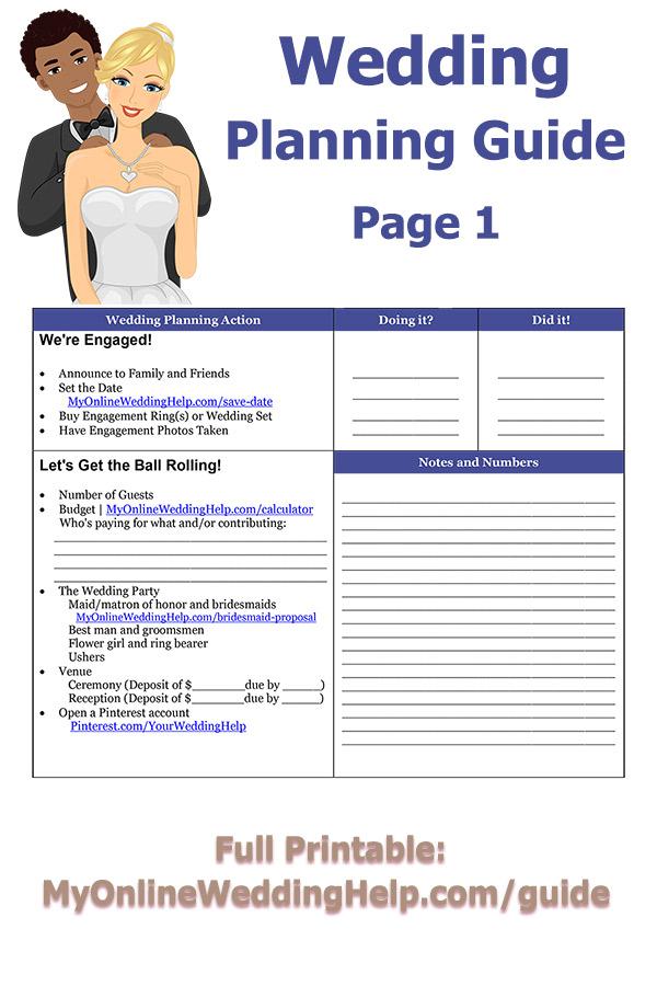 Free printable wedding planning guide my online wedding help printable wedding planning guide budget save the date choose bridesmaids groomsmen junglespirit Choice Image