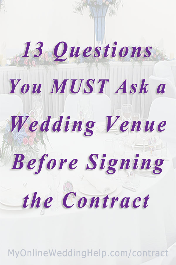 Wedding venue contract tips 13 questions to ask before signing my wedding venue questions to ask tips before signing a contract related to whats included solutioingenieria Image collections
