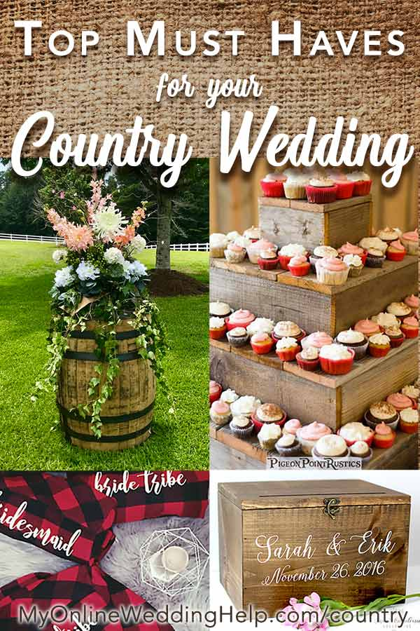 Country wedding ideas include rustic wedding cake and cupcakes displays (or use it as a dessert stand) wine barrels, and unique getting ready shirts as bridesmaids gifts. Tap the image to read more. Scroll to numbers 3 and 4 in the blog post to find out how to get the products in the picture. #CountryWeddingIdeas #MyOnlineWeddingHelp #CountryWedding #RusticWeddingIdeas #RusticCupcakes #WineBarrelWedding #RusticBridesmaidsGifts #RusticWedding