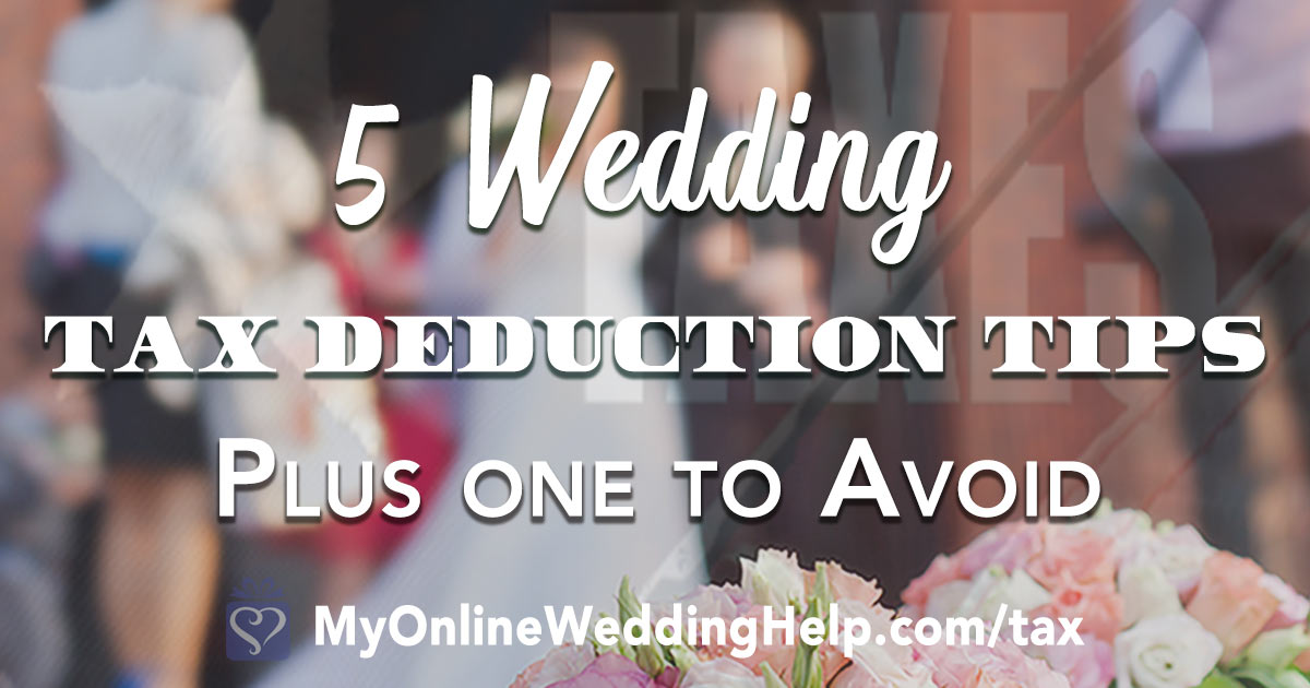 Wedding tax deduction tips. When you are wedding planning on a budget every dollar counts! Use these to save money on your wedding by donating and other action after you are wed. Tap to read the ways your wedding expenses can help you save on taxes. On the My Online Wedding Help blog. #BudgetWeddingBlog #WeddingPlanning #WeddingTaxes #MyOnlineWeddingHelp #TaxDeductions #WeddingSavings #SaveonWedding #WeddingTips #BudgetWedding #BudgetWeddingIdeas