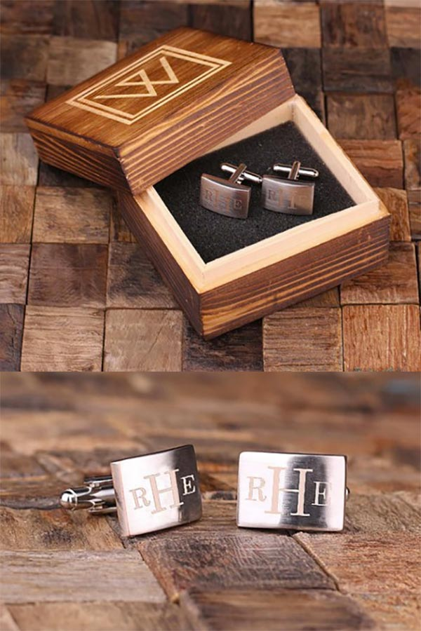 Men's cufflinks for your wedding groomsmen. These are personalized with each guy's initials and come in a gift box. You can even choose different monograms for the left and right cuff as well as the box. #GroomsmenCufflinks #MyOnlineWeddingHelp #PersonalizedCufflinks #MensCufflinks #GroomsmenGifts #GroomsmenGiftIdeas #Cufflinks #CustomCufflinks