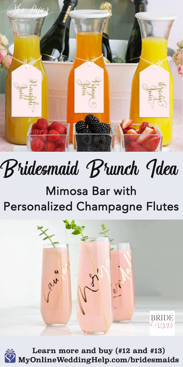 Awesome get to know the bridesmaids idea: have a brunch for the girls. Or make it an ask party! The customized champagne flutes are perfect double duty buys. Gifts for the bridesmaids and mimosa glasses. The tags on the juice bottles are a digital download for you to print yourself. There are links to both on the page. Scroll to number 12 and number 13 to learn more and buy the products. #MyOnlineWeddingHelp #BridalShowerIdeas #BridesmaidIdeas #BridesmaidsBrunch #Brunch