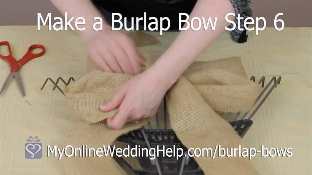 How to Make a Burlap Bow Step 6. Shape It.