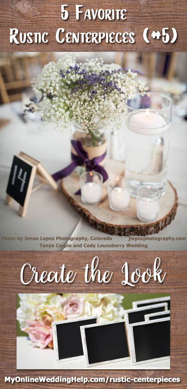 Rustic centerpiece with baby's breath, candles, and lavender with a tree slab as the base. This wedding centerpiece has a burlap-covered mason jar as the vase. I love the lavender nestled in the baby's breath. They also set both floating candles and votive candles on the tree slab. The chalkboard table number was just the right detail to complete the look. There are links and information on the page on how to DIY your own and contact vendors. Centerpiece photo Jenae Lopez, Colorado.