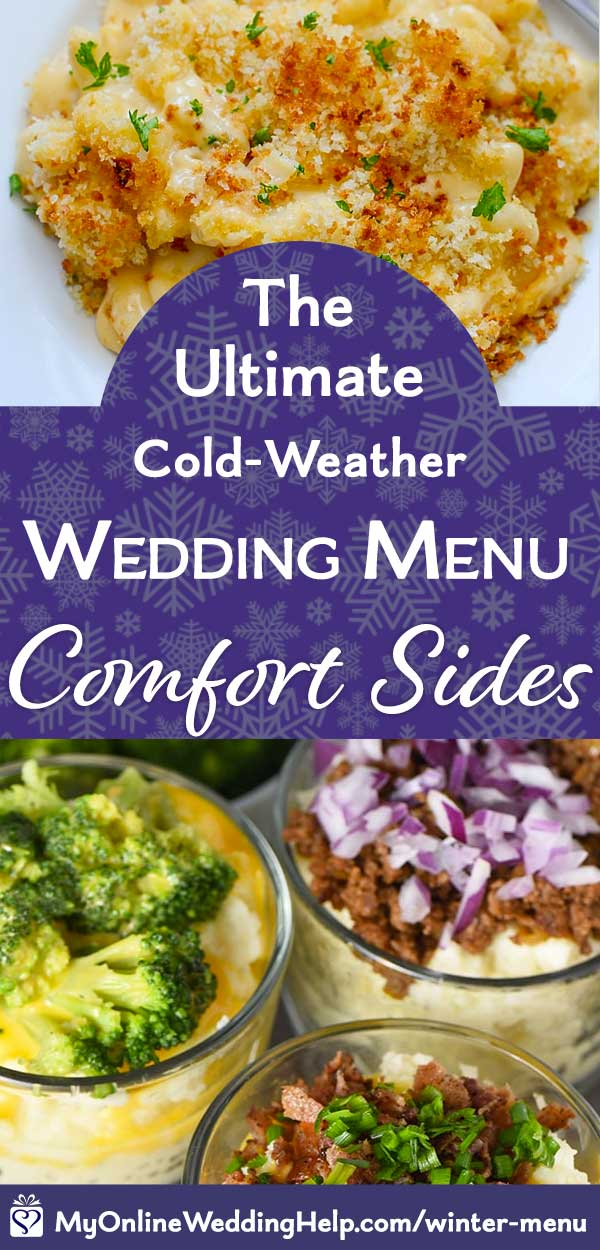 Comfort food wedding sides: Mashed potatoes and macaroni and cheese bar.