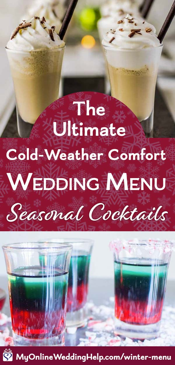 Winter signature cocktails for a seasonal wedding.