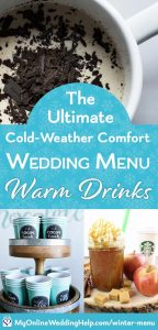 Winter wedding beverages ideas: hot chocolate and apple cider.