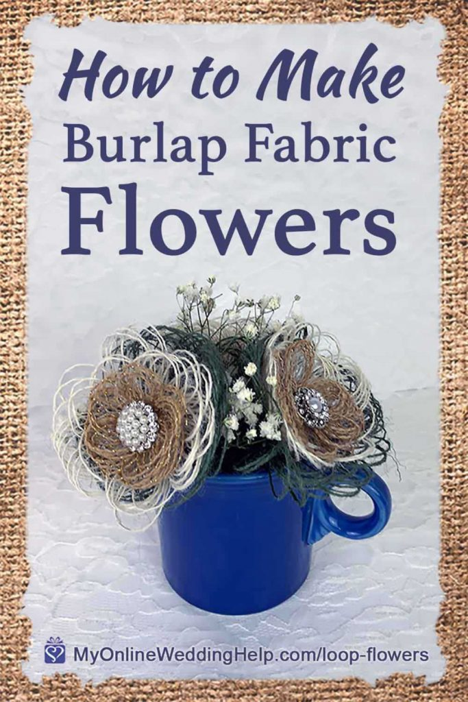 DIY Burlap Fabric Flowers with Stems title image. Loop burlap flowers with rhinestone centers in a blue cup.