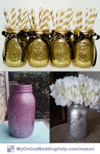 Mason Jar Centerpieces with Glitter Jars