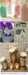 Painted Mason Jar Centerpieces with Flowers