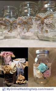 Burlap mason jars with lace