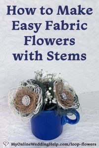 How to make easy burlap fabric flowers with stems.
